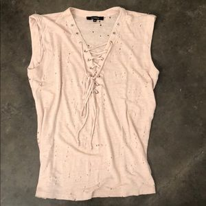 Light Pink Distressed Lace Up Tank